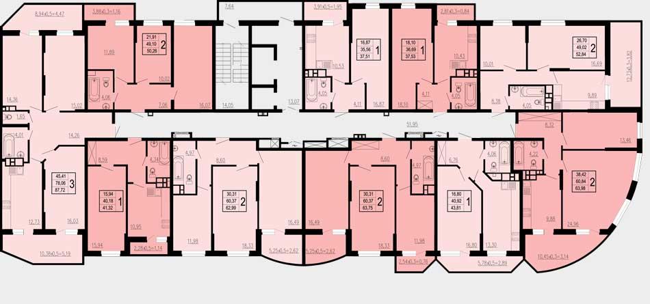 Планировка ЖК Победа 2-ая очередь (1 подъезд)