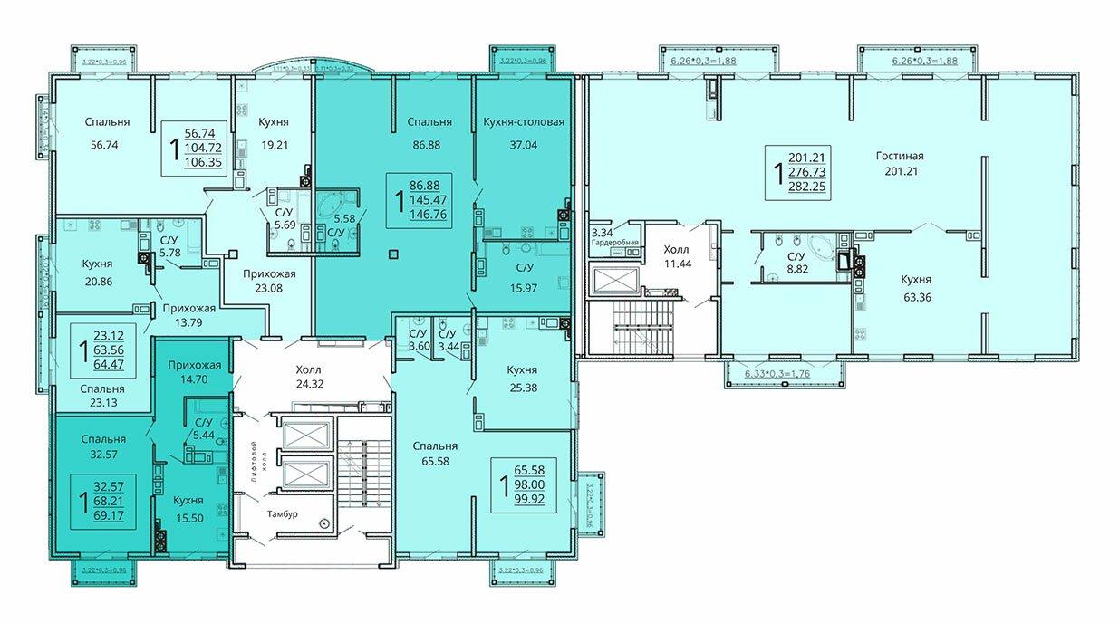 План типового этажа ЖК Мариинский бульвар